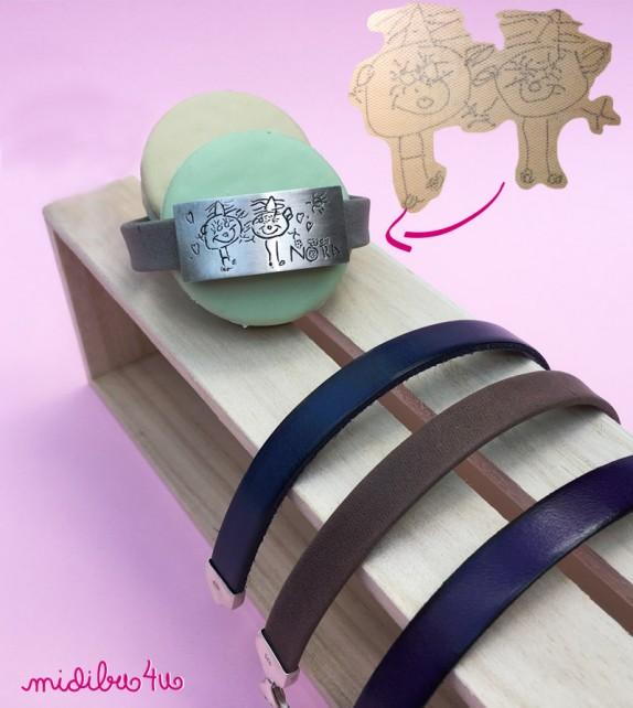 Pulsera de plata y cinta cuero